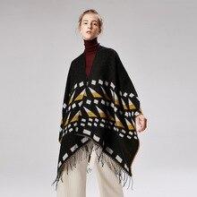 2019 autumn and winter women poncho caps warmer cashmere like scarves large size pashmina lady knit Blanket shawls female
