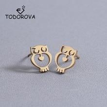 Купить с кэшбэком Todorova Minimalist Stainless Steel Earrings Lovely Small Owl Animal Stud Earrings Womens Jewellery Drop Shipping