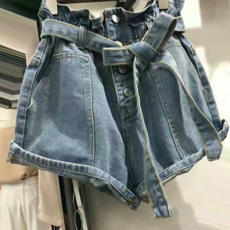 Waist Bandage Buttons Loose Denim   Shorts   Women 2018 Summer New Casual All-match Vogue Wide Leg   Short   Pants Female   Short   Mujer