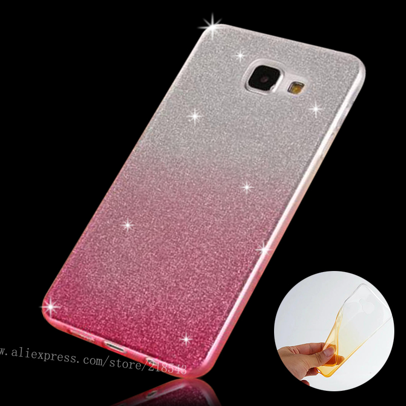 For Samsung A5 (6) Case Soft Gradient Clear TPU Case for SAMSUNG Galaxy A5 2016 A510 Cover SLIM Silicon Glitter Powder Phone Bag