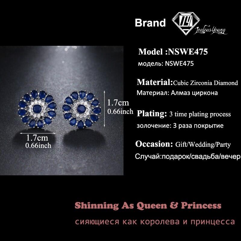eaaab1c8015f ZAKOL lujo hermosa Marquesa de forma de flor Cubic Zirconia largo pendientes  novia joyería de la