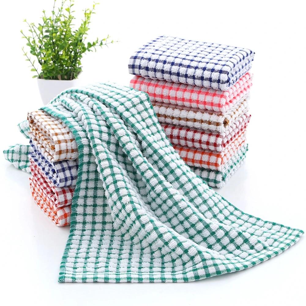 3 6 9 12pcs Cleaning Cloth Tea Towels Kitchen Plaid Dish Cotton Absorbent Cloths Dishcloth Handkerchief Lattice Towel 40x65cm Aliexpress