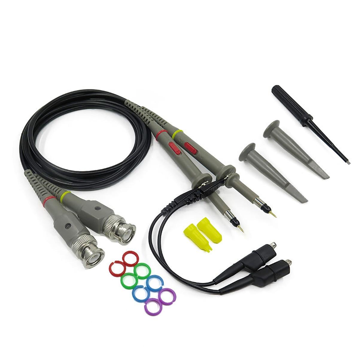 2pcs 100MHz Oscilloscope Probe 1X 10X Attenuation Scope Analyzer Alligator Clip Probes Test Leads font b