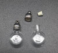 300pcs 23x13mm wholesale flat round ball glass Vial 5mm metal cap rubber plug mini charm rice bottle perfume necklace accessory