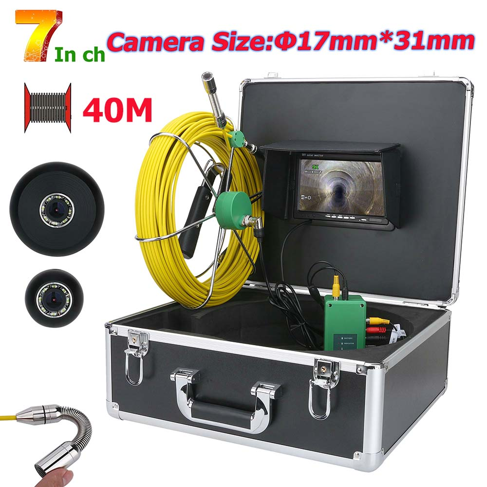 MOUNTAINONE 7inch 17mm Pipe Sewer Inspection Video Camera Drain Pipe Sewer Inspection Camera System 1000 TVL