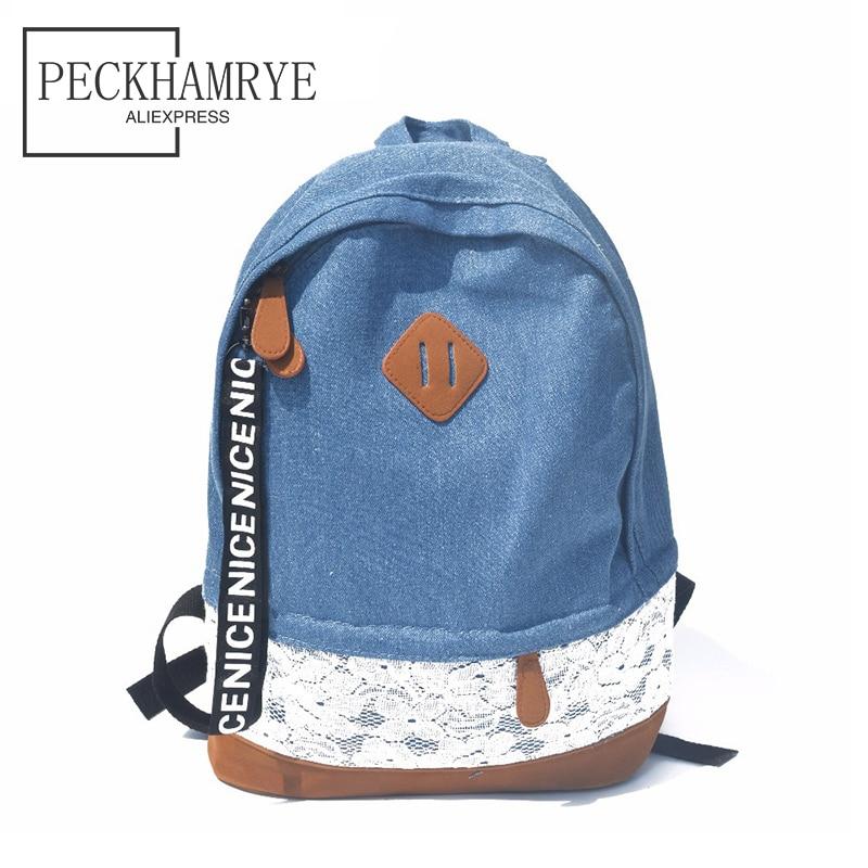 PECKHAMRY Fashion Lace Canvas jeans Backpack Women Bag School bag For Teenagers Ladies Girl Back Pack Schoolbag Bagpack Mochila цена и фото
