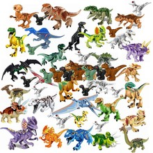 Animals Jurassic Dinosaurs World Park Dinosaur Velociraptor Tyrannosaurus Rex Baby Figures Blocks Toys Legoings Animal L1228 Kit(China)