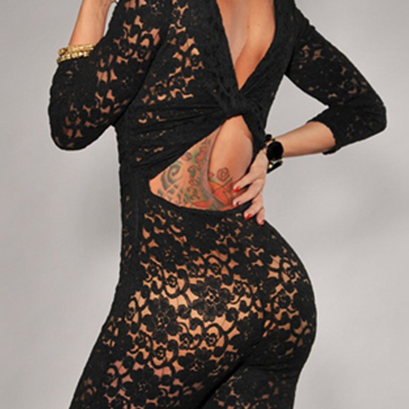 4d692e5a6a Sexy Overalls Long Sleeve Vintage Lady Black Lace Nude Illusion Key Hole  Back Jumpsuit 6283 Rompers Womens Jumpsuit Long Pants on Aliexpress.com