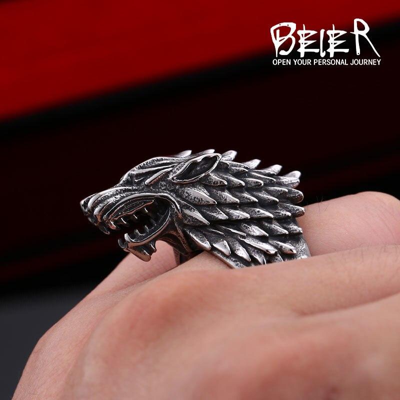 Beier nehrđajući čelik viking vuk prsten Igra prijestolja led vuk - Modni nakit - Foto 5
