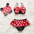2017 0-7Y Bebê menina swimwear duas peças maiô de natação do bebê Da Criança de Verão Dot meninas swimwear princesa Biquíni swimwear infantil