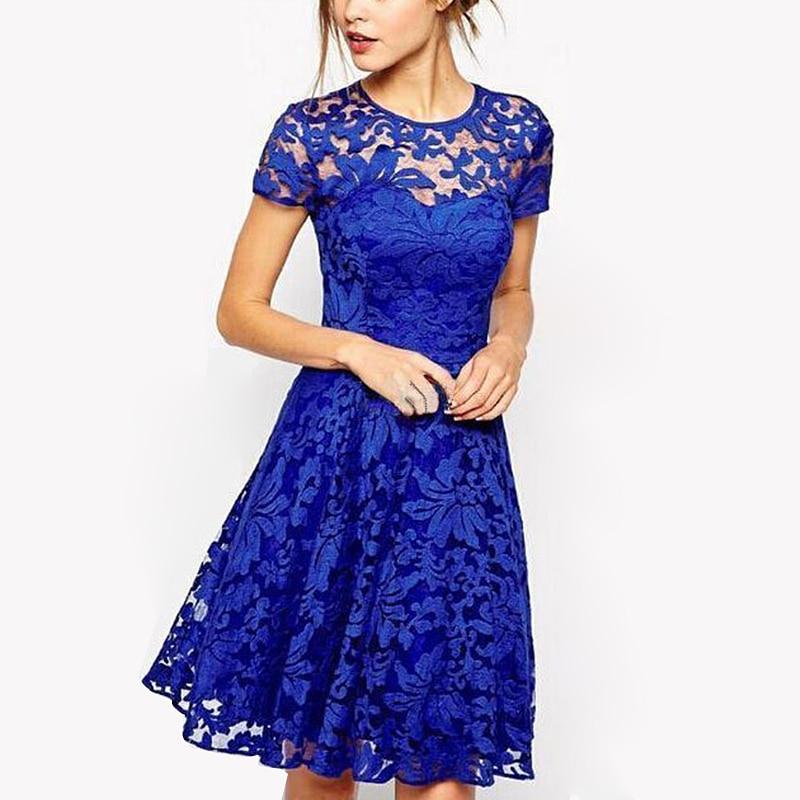 5XL Plus Größe Kleid Mode Frauen Elegante Süße Hallow Heraus Spitze Kleid Sexy Party Prinzessin Schlank Sommer Kleider Vestidos Rot blau