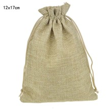 12x17cm 50pcs/lot Custom Jute Drawstring Bag with Pouch Sack Favor Gift jewelry package bag for Weddings Parties