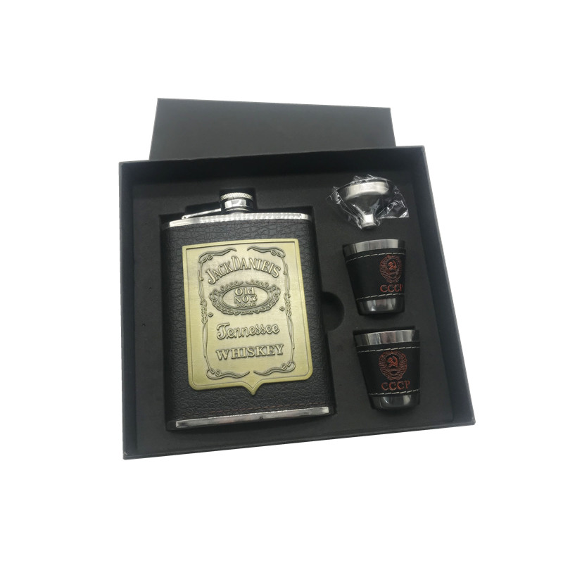 2018 hot sale 8oz ounce Stainless steel 304 vodka hip flask Whisky Moscow cccp flagon with pu leather black gift box set