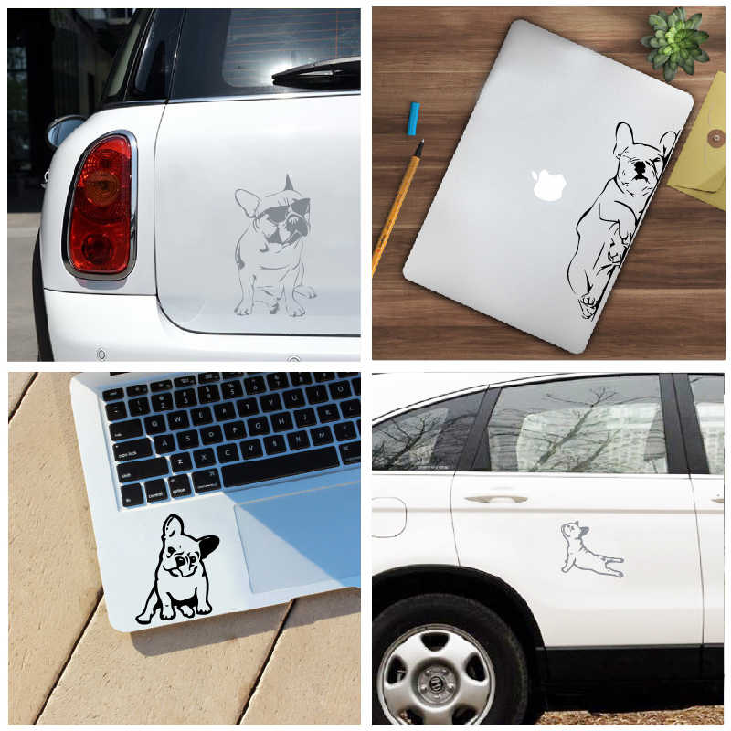 Franse Bulldog Laptop Decals voor Apple MacBook Air/Pro Decoratie, grappige Hond Silhouet Vinyl Sticker Decal Car Window Decor