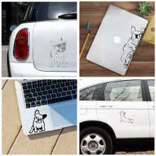 French Bulldog Laptop Decals for Apple MacBook Air / Pro Decoration , Funny Dog Silhouette Vinyl Sticker Decal Car Window Decor(China)