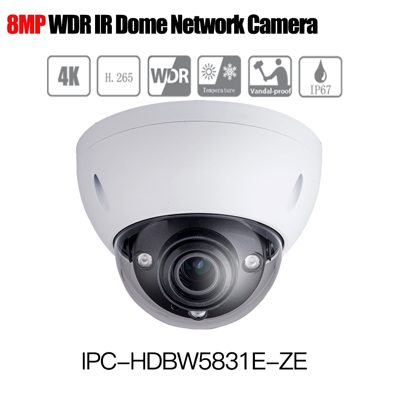 Dahua IPC-HDBW5831E-ZE 8MP 4K H.265 WDR IR Dome Network Camera 2.7~12mm motorized lens POE Replace IPC-HDBW5831E-Z IP Camera free shipping dahua cctv camera 4k 8mp wdr ir mini bullet network camera ip67 with poe without logo ipc hfw4831e se