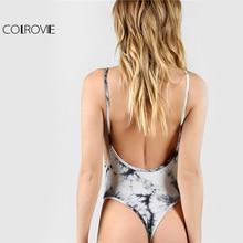 COLROVIE Low Back Thong Bodysuit Sexy Ladies Slim Bodycon Beach Cami Bodysuits 2017 Women Scoop Neck Sleeveless Strap Bodysuit