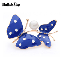 Wuli&baby Blue Red Enamel Spot Butterfly Brooches For Women Alloy Pearl Couple Insect Brooch Pins Moms Gifts
