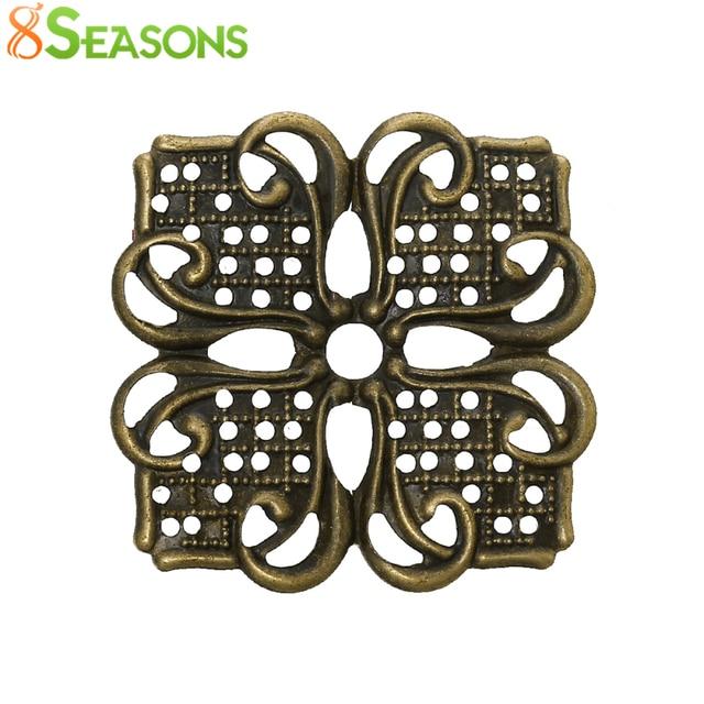 8SEASONS Embellishments Findings Filigree Wraps Connectors Square Antique Bronze Flower Pattern 3.5cmx 3.5cm,100 PCs