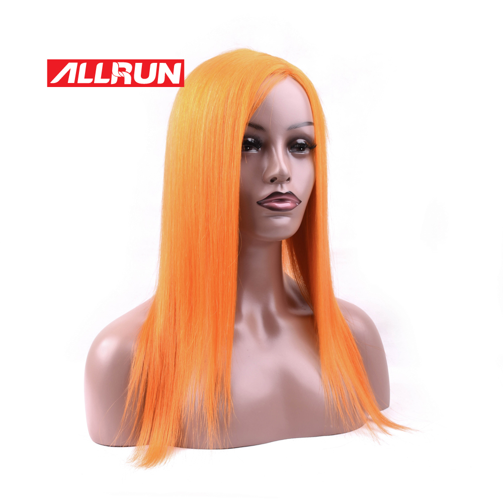 Allrun Lace Front Human Hair Wigs For Women Orange Pre Plucked Hairline With Bands 10 20Inch