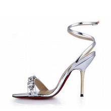 2016 women sandals high heels sexy rhinestone valentine shoes woman sandalias mujer sapato feminino zapatos mujer sandale femme