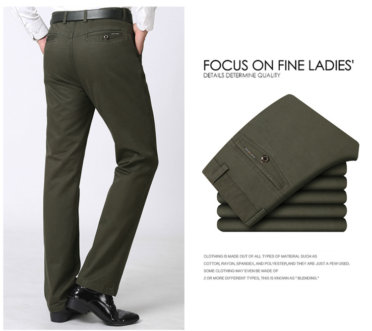 Full Length Straight Business Pants C Man Thick Suit Classic Men's Cotton Casual xFw6a