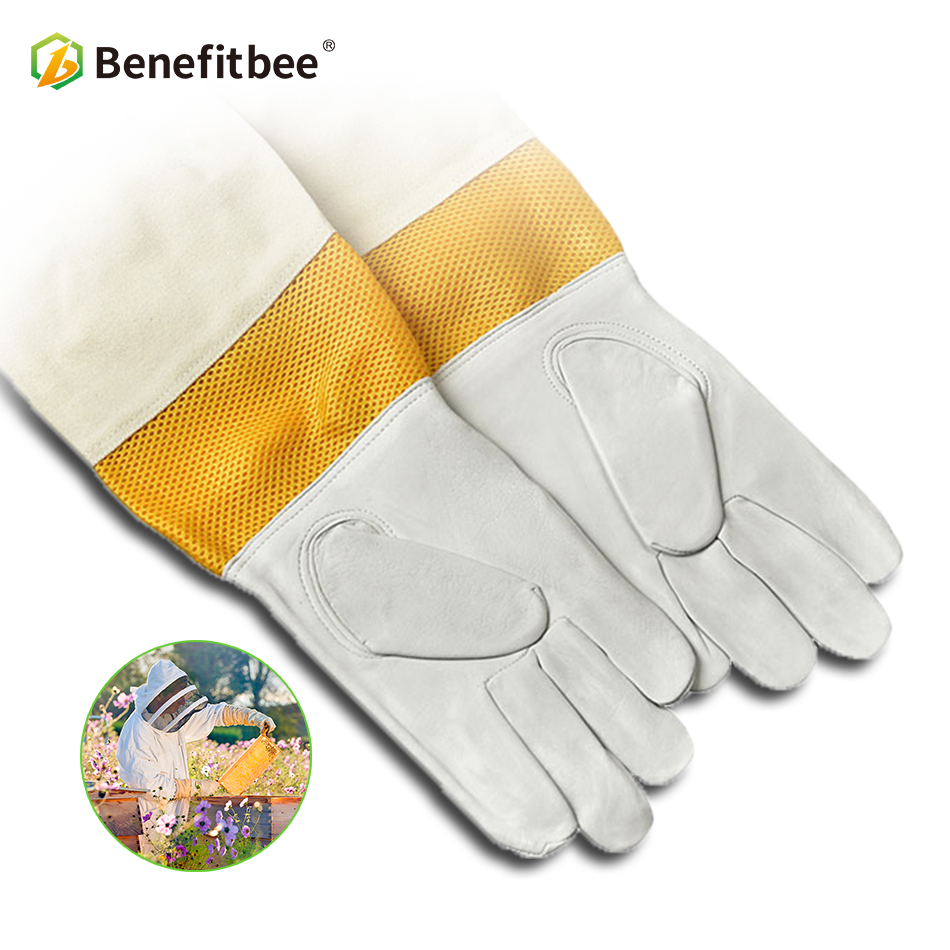 Benefitbee Bee Keeping Gloves Sheepskin Beekeeping Equipment For Breathable Tools Beekeeper Protective Anti-bee Mater