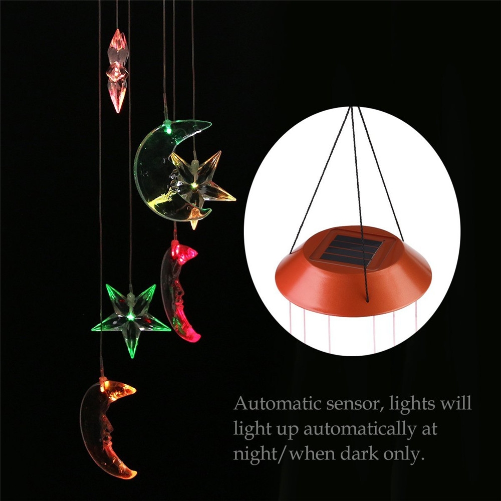 Solar Changing Color Mobile Light, Star & Moon Spiral Spinner Windchime Portable Outdoor Decorative Romantic Garden Night Lamps
