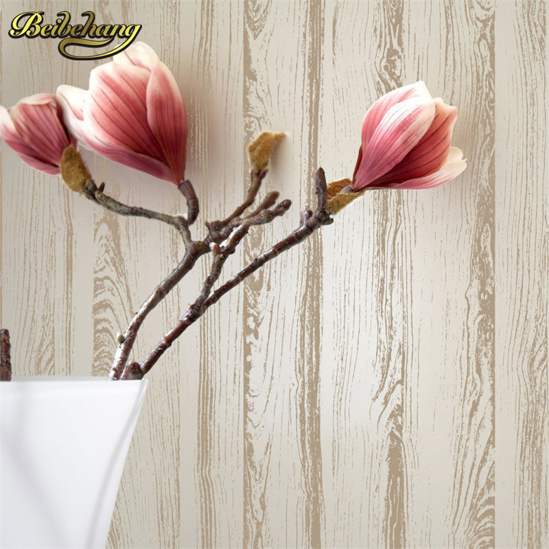 beibehang Detail White Wooden Plank Textured Light Flocking Non woven Wallpaper Wallpaper Roll Living Room Background Wall Decor цена и фото