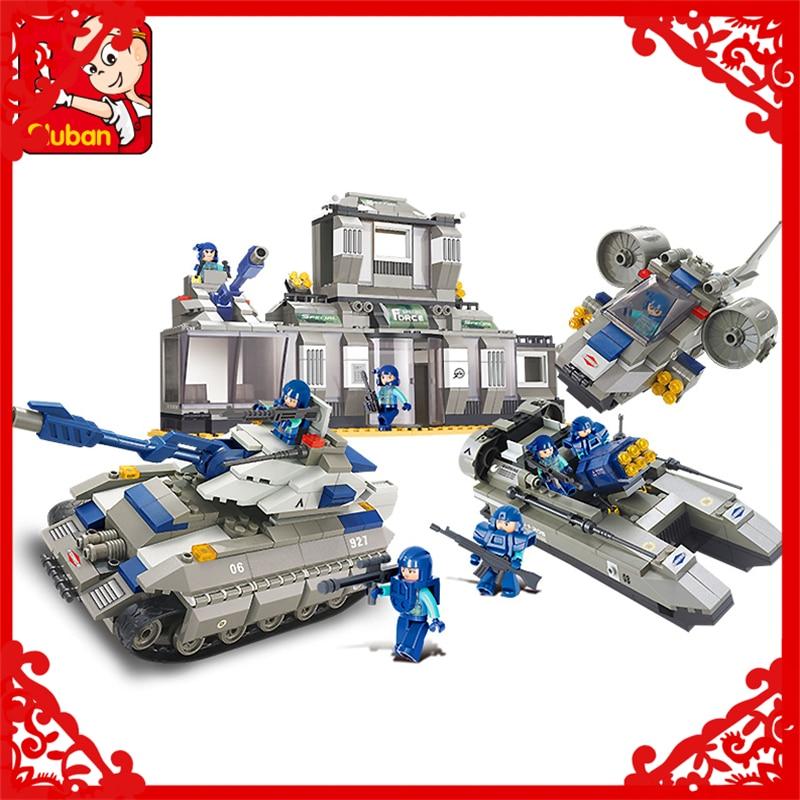 SLUBAN 0211 822Pcs Police SWAT Headquarters Model Building Block Construction Figure Toys Gift For Children Compatible Legoe police pl 12921jsb 02m