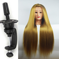 """Free Clamp Best Mannequin Training Head 26"""" Blonde Maniqui Hairdressing Doll Heads Hairdresser Manik Synthetic Hair Makeup"""