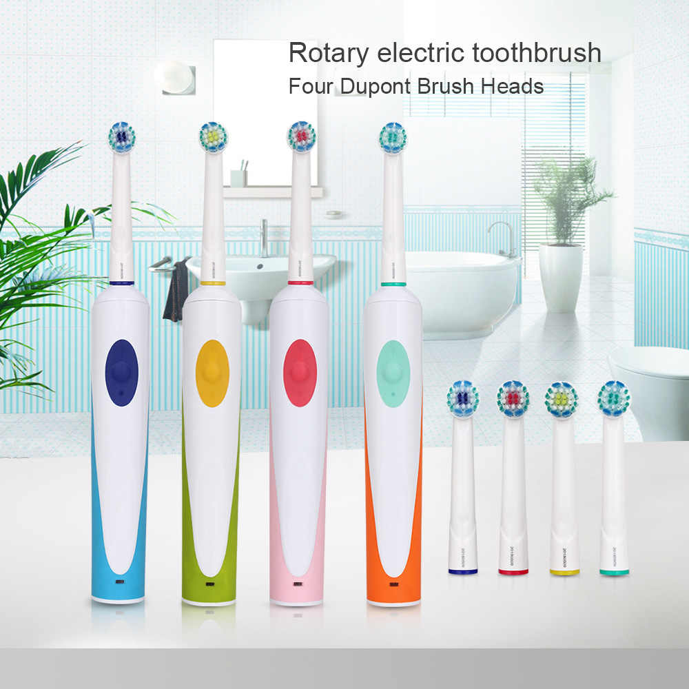 AZDENT электрическая вращающаяся зубная щетка перезаряжаемые зубные щетки с 4 шт. сменные головки ЕС Plug осциллирующая зубная щетка для взрослых