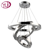 Top Luxury Modern Crystal Light Chandelier Three Rings LED Lustres De Cristal Lamps Living Dining Room