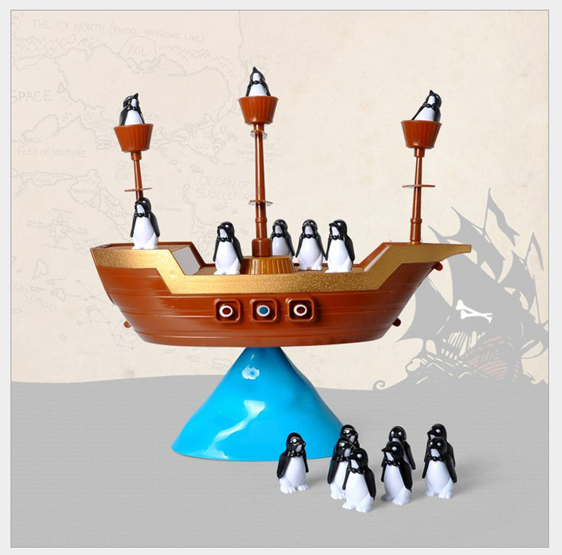 Educational toy penguin pirate balance ship family parent-child interaction board balance game creative gamepirate boat