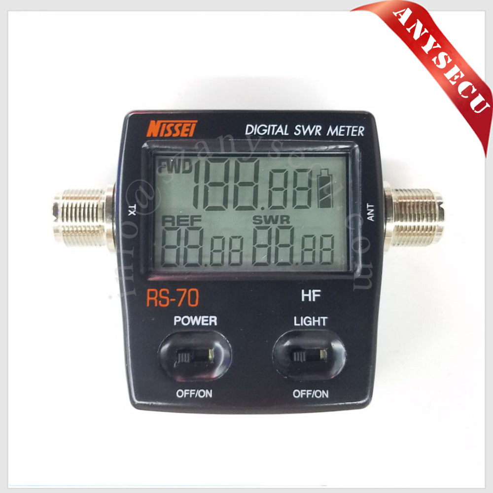 New Launch NISSEI RS-70 Digital SWR/Power Meter HF 1.6-60MHz 200W M Type Connector SWR Power Meter For Walkie Talkie 2 Way Radio