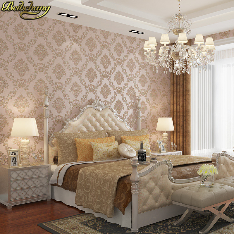 beibehang papel de parede 3d European Damascus Non-woven wallpaper for walls 3 d Luxury Damask wall paper Living Room bedroom beibehang deerskin luxury european leaf wallpaper for walls 3 d non woven papel parede mural wallpapers roll 3d wall paper roll