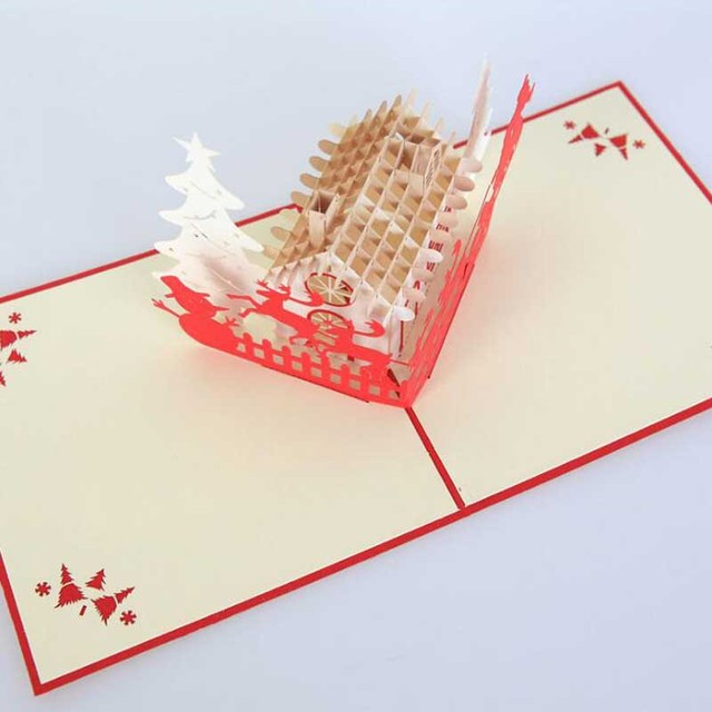 Wholesale 10pcs paper sculpture christmas decoration supplies 3d wholesale 10pcs paper sculpture christmas decoration supplies 3d greeting cards decorative crafts new year invitation card m4hsunfo