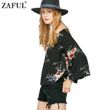 Zaful Vintage Floral Print Bell Sleeve Off The Shoulder Black Sexy Chiffon Blouse