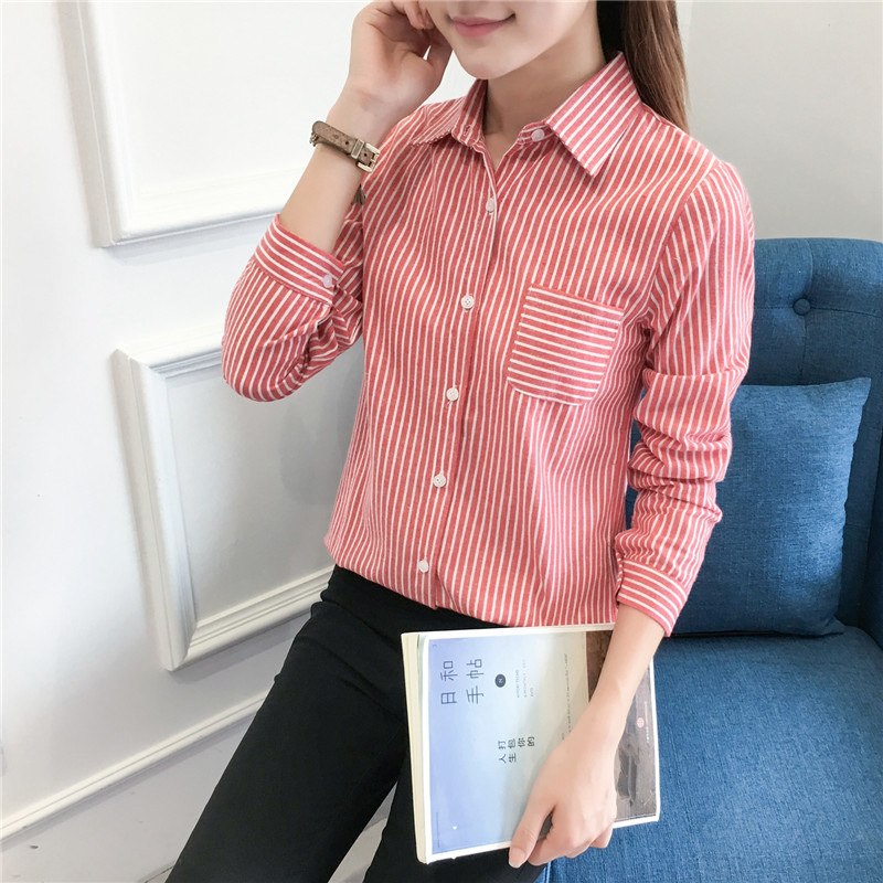 2018 Autumn New Women Blouses Long Sleeve Shirts Good Quality Causal College Style Women Office Tops Striped Blouse Lady Clothes