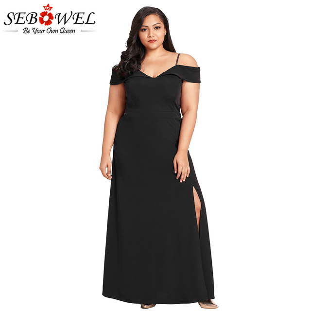 Sebowel Sexy Off Shoulder Black Plus Size Party Dress Women Long