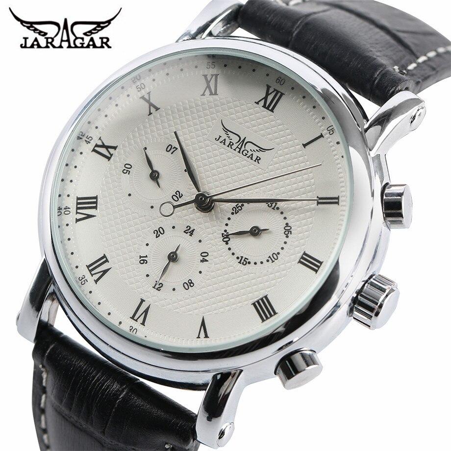 JARAGAR Klassische Automatische Mechanische Uhr Männer Schwarz/Weiß Zifferblatt Datum Display Uhren Business Römischen Zahlen Mode Uhr Geschenk