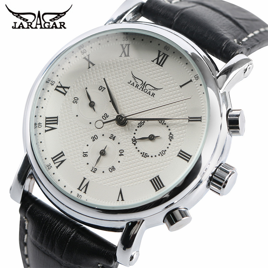 JARAGAR Classic Automatic Mechanical Watch Men Black/White Dial Date Display Watches Business Roman Numbers Fashion Clock Gift ks black skeleton gun tone roman hollow mechanical pocket watch men vintage hand wind clock fobs watches long chain gift ksp069