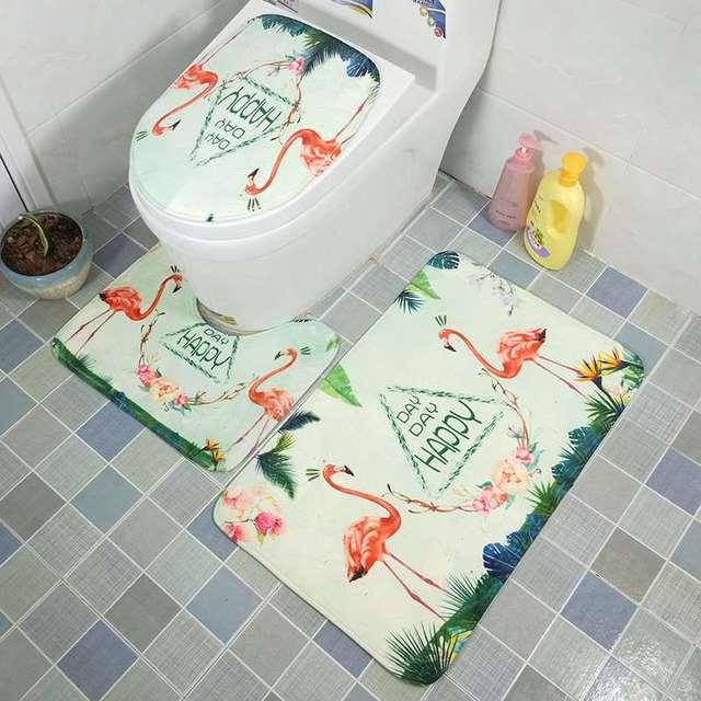 3 pz Flamingo Tavolette copriwater Set Assorbente Antiscivolo Bagno Tappetini Bagno Zerbino Set Zerbino Flanella Pavimento Zerbino s
