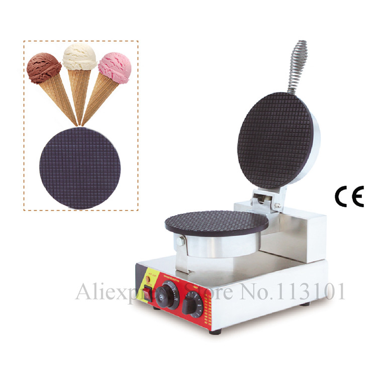 Single Head Ice Cream Cone Waffle Machine Stainless Steel Icecream Cone Maker Crispy Pancake Waffle Maker chinese single round pan rolled ice cream machine fried ice cream roll machine with 6 barrels