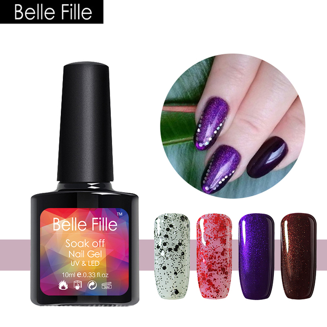 Belle Fille Uv Soak Off Purple Bling Glitter Gel Nail Polish Varnish Shining Party Makeup