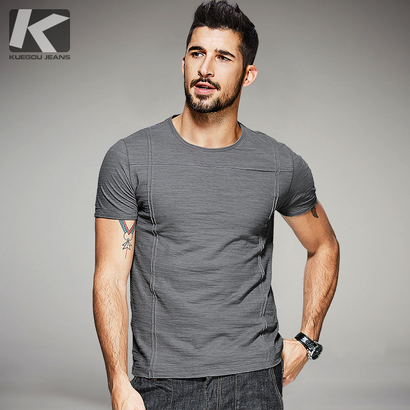 KUEGOU 2017 Summer Mens Casual T Shirts Line Style Gray Color Brand Clothing Man's Short Sleeve Slim T-Shirts Male Tops Tee 6568