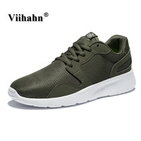 Viihahn Mens Outdoor Athletic Sport Sneakers Spring And Summer Breathable Mesh Upper Lace Up Black Gray