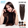 Clip in Indian Virgin Silky Straight Human Hair Clip Ins Dark Brown Human Hair Extensions Cabelo Humano Tic Tac Clip In Weave