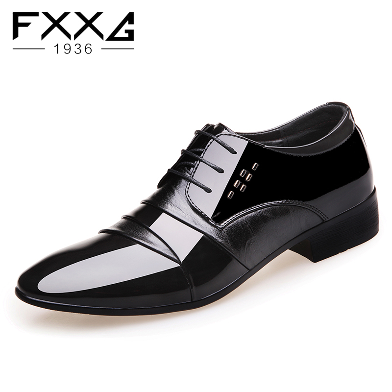 Quality Shiny PU leather Men oxfords Dress Shoes Fashion Lace up Wedding Black Shoes Mens Pointed Toe formal Office Shoes 99780