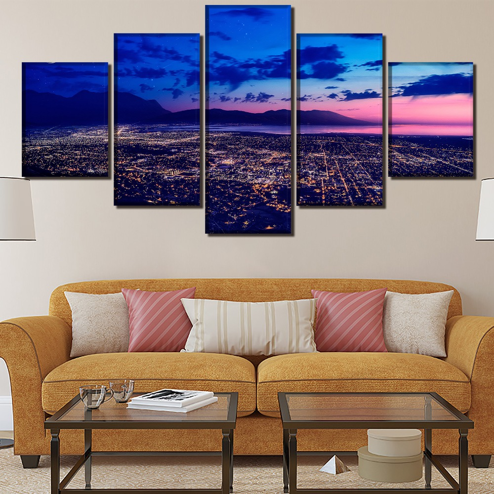 City HD Print Painting Wall Art Canvas Painting Canvas Living Room Painting Modern Decor Picture Poster 5 Piece Landscape in Painting Calligraphy from Home Garden